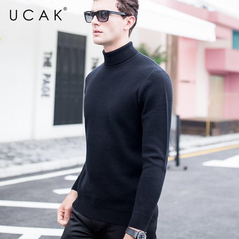 Ucak 브랜드 스웨터 남자 가을 겨울 두꺼운 따뜻한 터틀넥 풀 옴므 순수 메리노 울 풀오버 남자 소프트 캐시미어 스웨터 u3015