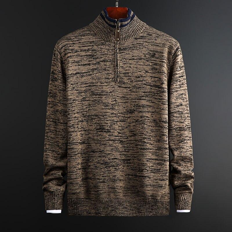 2020 새로운 패션 브랜드 스웨터 남성 풀오버 하프 지퍼 풀오버 슬림 피트 점퍼 니트 가을 한국 스타일 캐주얼 남성 의류