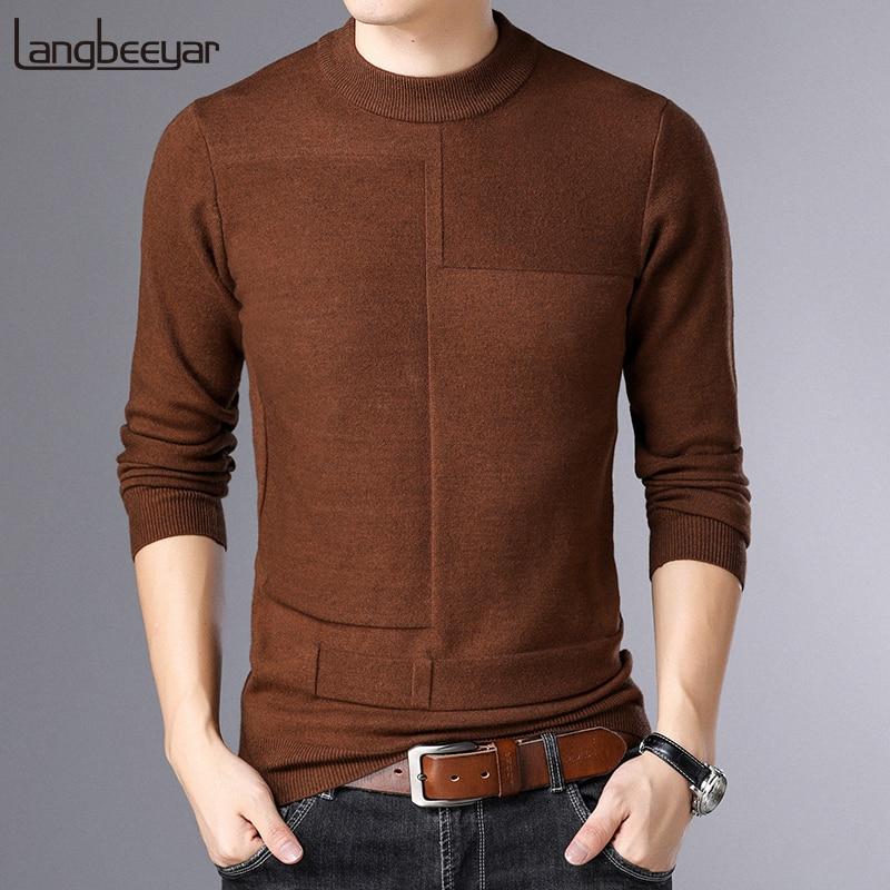 2020 새로운 패션 브랜드 스웨터 망 풀오버 솔리드 컬러 슬림 맞는 점퍼 Knitred 따뜻한 가을 한국 스타일 캐주얼 의류
