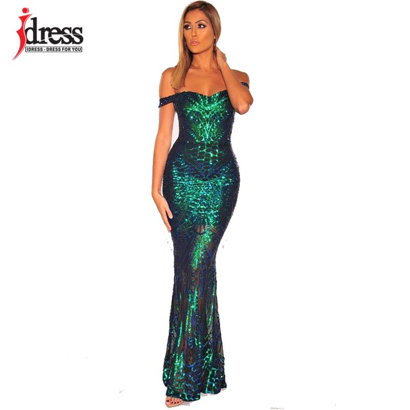 IDress 섹시 스팽글 긴 여름 드레스 우아한 오프 어깨 저녁 파티 드레스 2020 여성 롱 드레스 섹시한 Bodycon 맥시 드레스