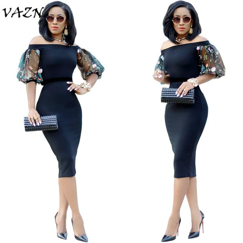 Vazn 최고 품질의 참신 디자인 2018 섹시한 스타일의 여성 복장 솔리드 슬래시 목 레이스 절반 슬리브 bodycon 미디 드레스 vestido a3003