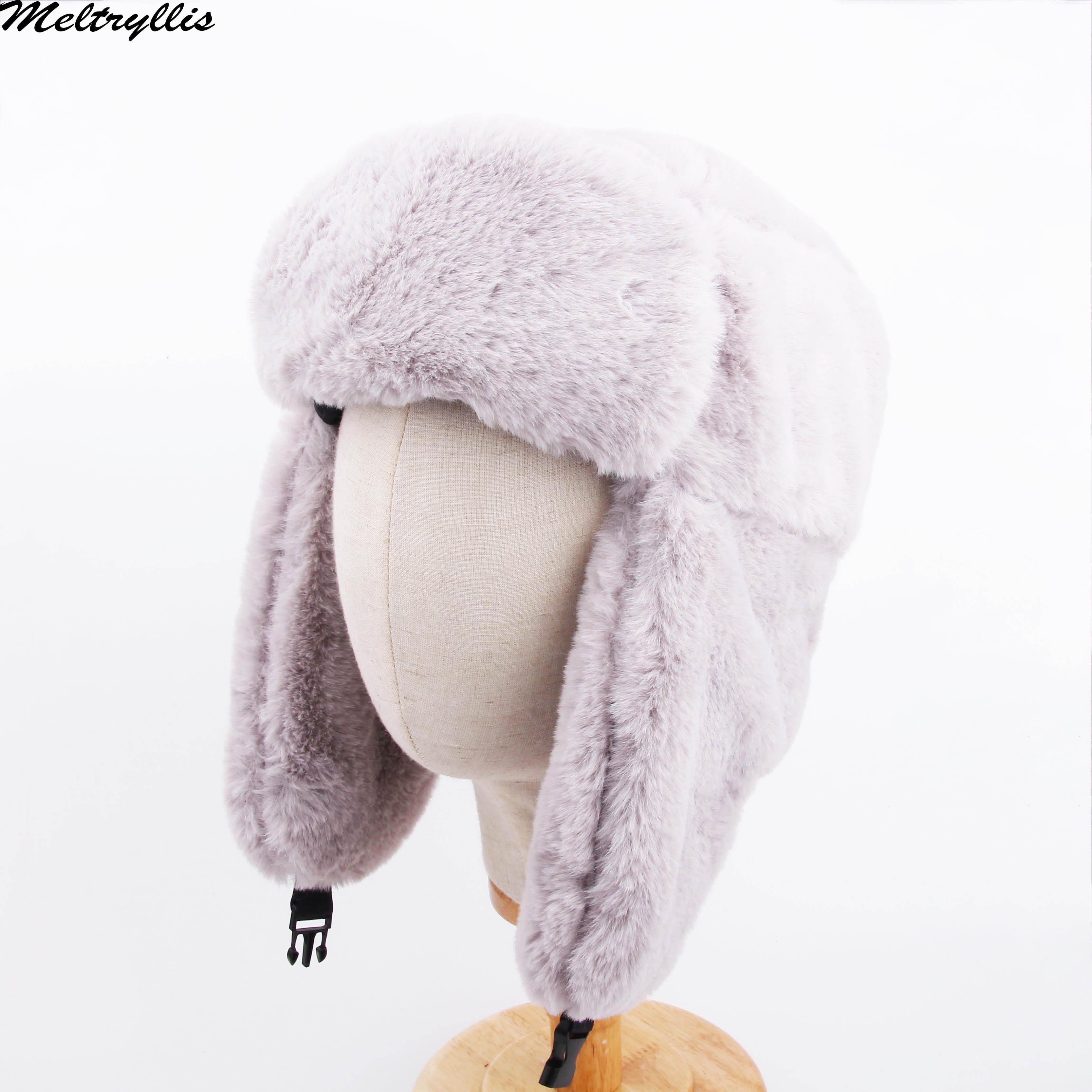 [Meltryllis] 겨울 스키 모자 따뜻한 귀마개 남성과 여성을위한 두꺼운 귀마개 모자 faux fur lei feng cap 러시아 폭탄 모자