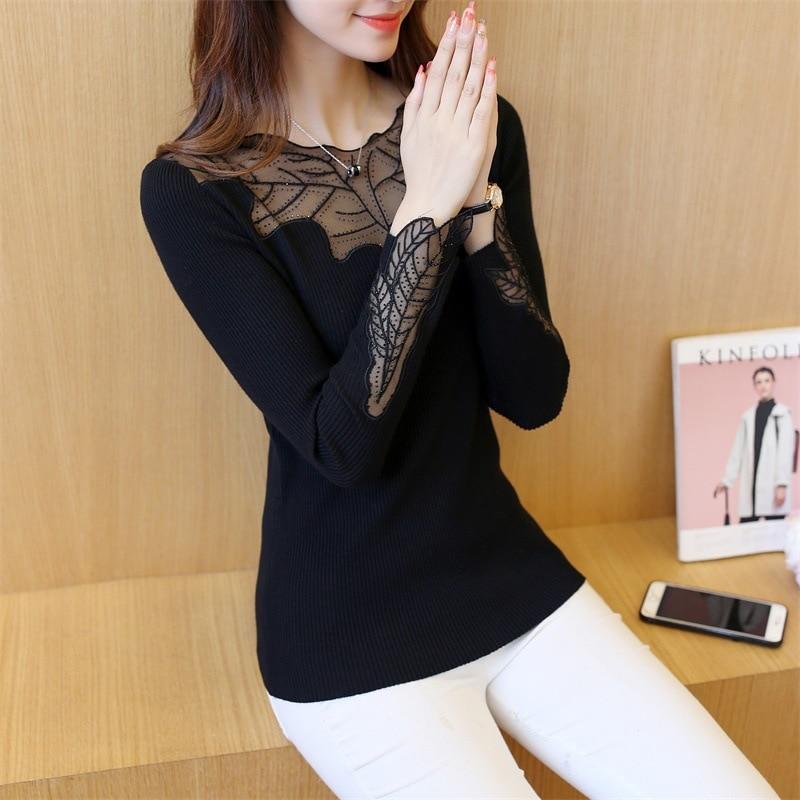 2019 레드 여성 우아한 긴 소매 느슨한 귀여운 셔츠 레이스 블라우스 여성 플러스 사이즈 탄력 봄 캐주얼 블라우스 탑 의류 vintage black harajuku t shirt korean style women tshirt