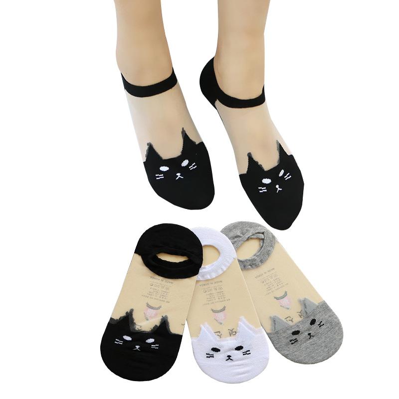 3 쌍 여성 양말 귀여운 인쇄 만화 고양이 투명 솔리드 컬러 양말 여름 재미 있은 동물 개별 여성 보트 양말 meias
