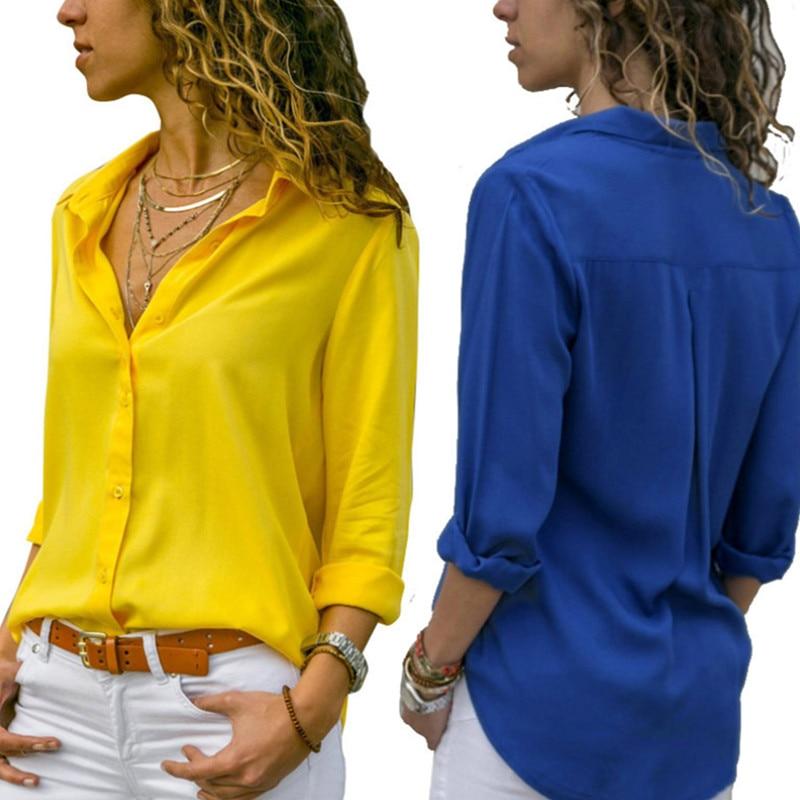 봄 가을 여성 쉬폰 블라우스 셔츠 캐주얼 긴 소매 단색 OL 여성 작업복 우아한 숙녀 블라우스 셔츠 플러스 사이즈