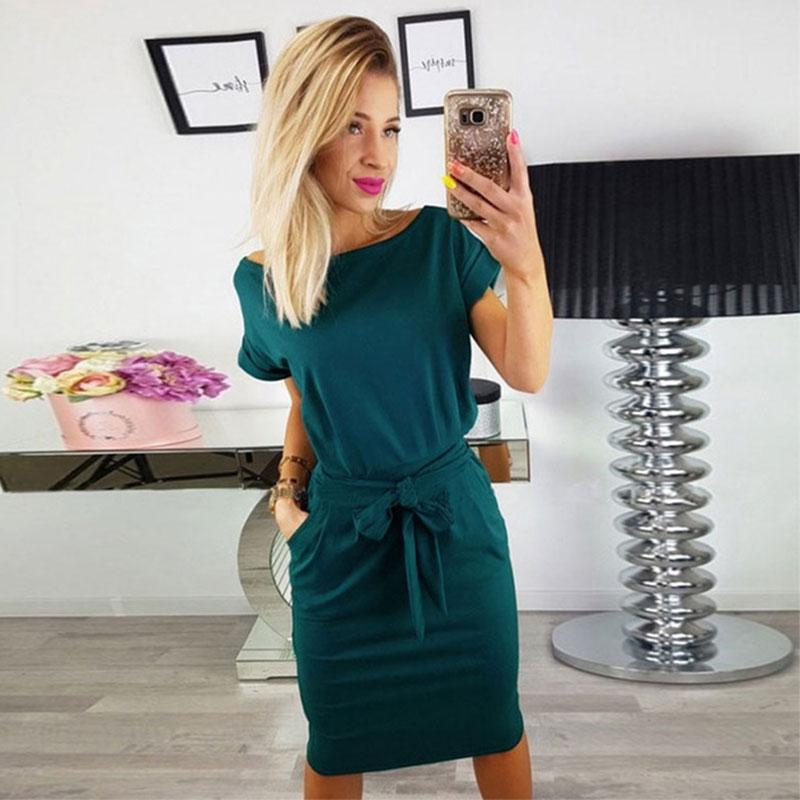 솔리드 오 넥 반팔 레이싱 드레스 여성 캐주얼 포켓 심플 드레스 여름 숙녀 패션 통기성 드레스 Vestidos New