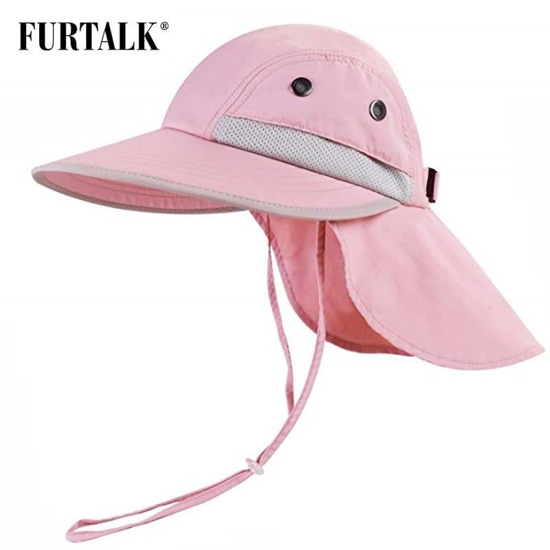 Furtalk kids 여름 모자 소녀 소년 태양 모자 목 플랩 uv 보호 사파리 모자 아기 어린이 여름 여행 모자 2-12 세