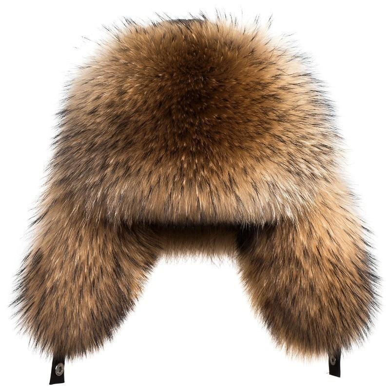 남성을위한 새로운 겨울 럭셔리 천연 여우 모피 모자 브랜드 남성 모자 겨울 따뜻한 너구리 모피 폭탄 모자