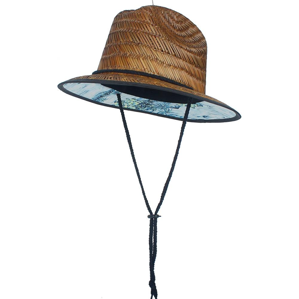 100% 밀짚 여성 남성 라이프 가드 모자 여름 수제 직조 재즈 비치 태양 모자 야외 대나무 모자 파나마 모자 크기 58 cm