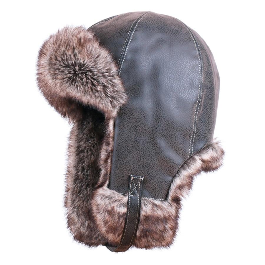 폭탄 모자 겨울 러시아어 Ushanka 가짜 여우 모피 스노우 스키 기병 모자 귀고리 남자 여자 파일럿 비행 조종사 모자