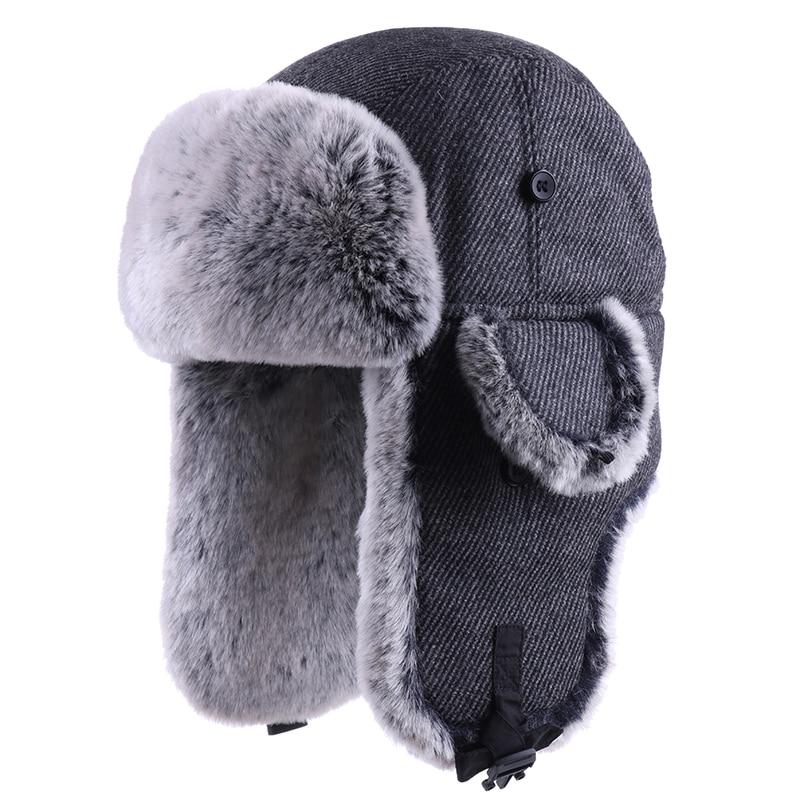 남자 폭탄 모자 겨울 thicken 러시아 ushanka 가짜 토끼 모피 기병 earflap 모자 눈 스키 모자 여자 비행가 사냥꾼 모자