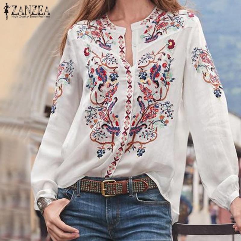 보헤미안 프린트 탑 여성 가을 블라우스 ZANZEA 2020 플러스 사이즈 튜닉 패션 V 넥 긴 소매 셔츠 여성 캐주얼 블러셔