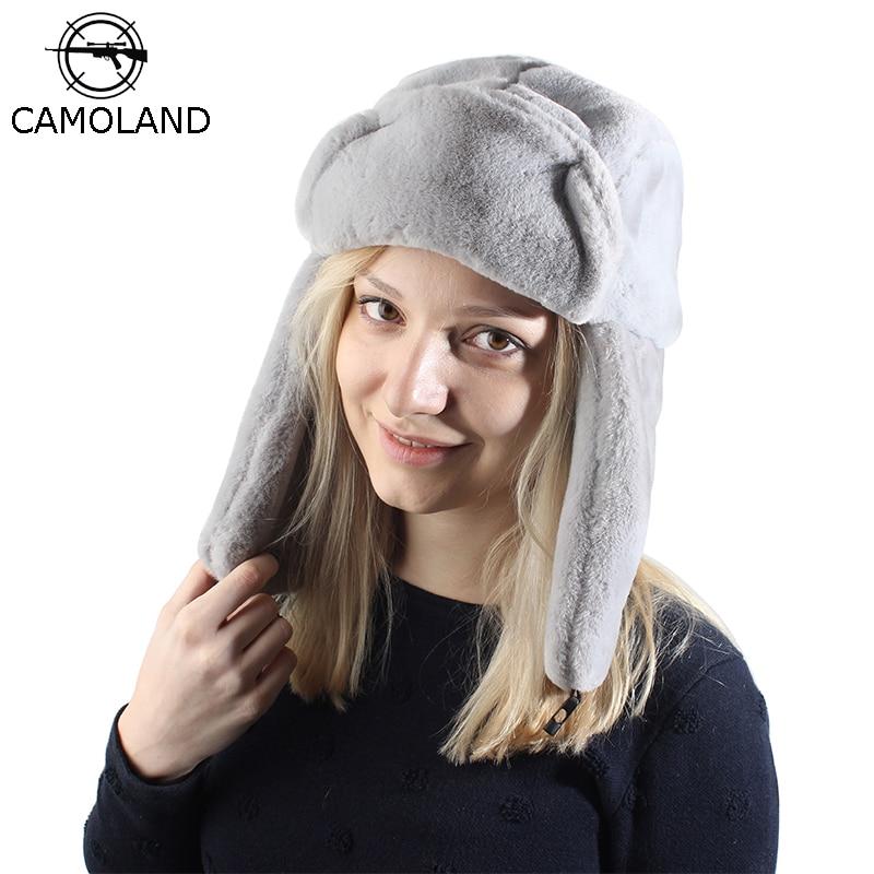 Camoland 2019 따뜻한 러시아 ushanka 모자 귀 플랩 망 여성 폭탄 모자 가짜 토끼 모피 스노우 캡 겨울 트 랩퍼 모자