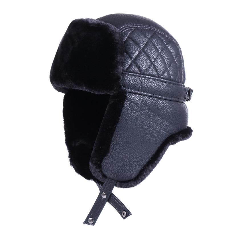 폭탄 모자 겨울 러시아어 Ushanka 남자 여자 육군 군사 모자 가짜 토끼 모피 사냥꾼 비행가 코사크 기병 스노우 스키 모자