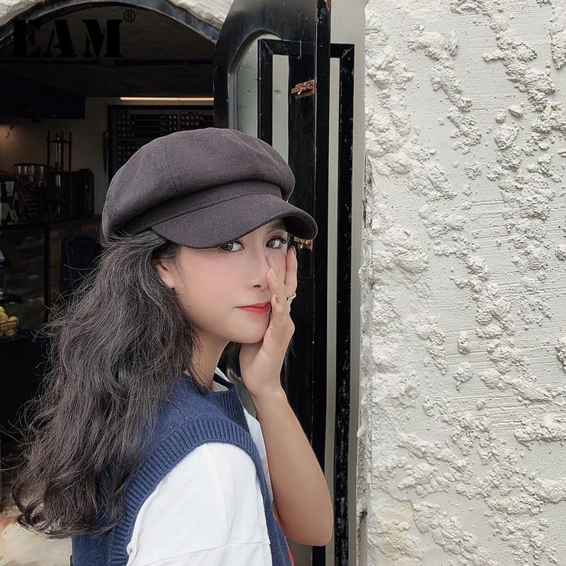 [EAM] 여성 여러 가지 빛깔의 접이식 어부 모자 새로운 라운드 돔 기질 패션 조수 모든 경기 봄 가을 20201D140