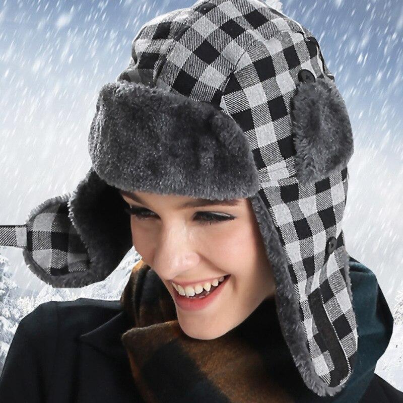 폭탄 모자 여성 unisex 남자 겨울 모자 여성을위한 earflaps 따뜻한 귀 플랩 모자 windproof 두꺼운 격자 무늬 러시아어 ushanka 모자