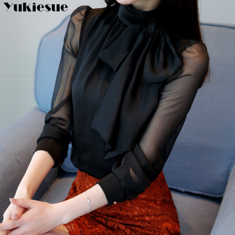 2019 뉴 여름 패션 튜닉 여성 블라우스 셔츠 긴 소매 넥타이 보우 시폰 터틀넥 공식 여성 화이트 블랙 셔츠