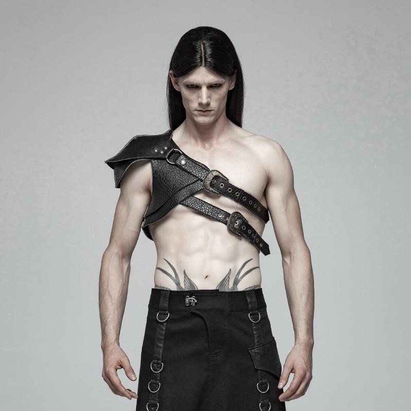 펑크 레이브 남자 steampunk 갑옷 두꺼운 패턴 pu 가죽 레트로 무대 성능 남자 액세서리