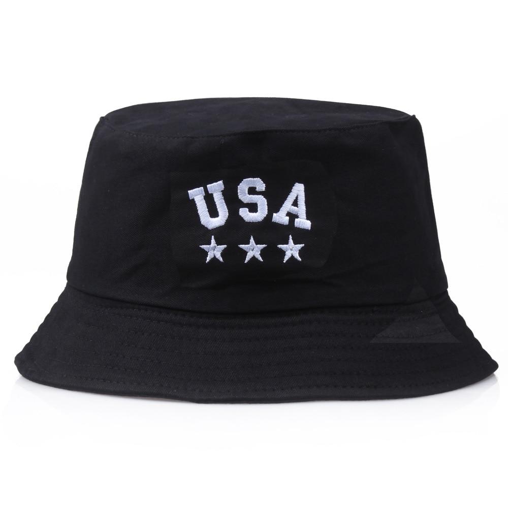 검은 양동이 모자 미국 Foldable 모자 Unisex 야외 미국 면화 낚시 모자 남자 분지 모자 여행 일 모자 모자 방지