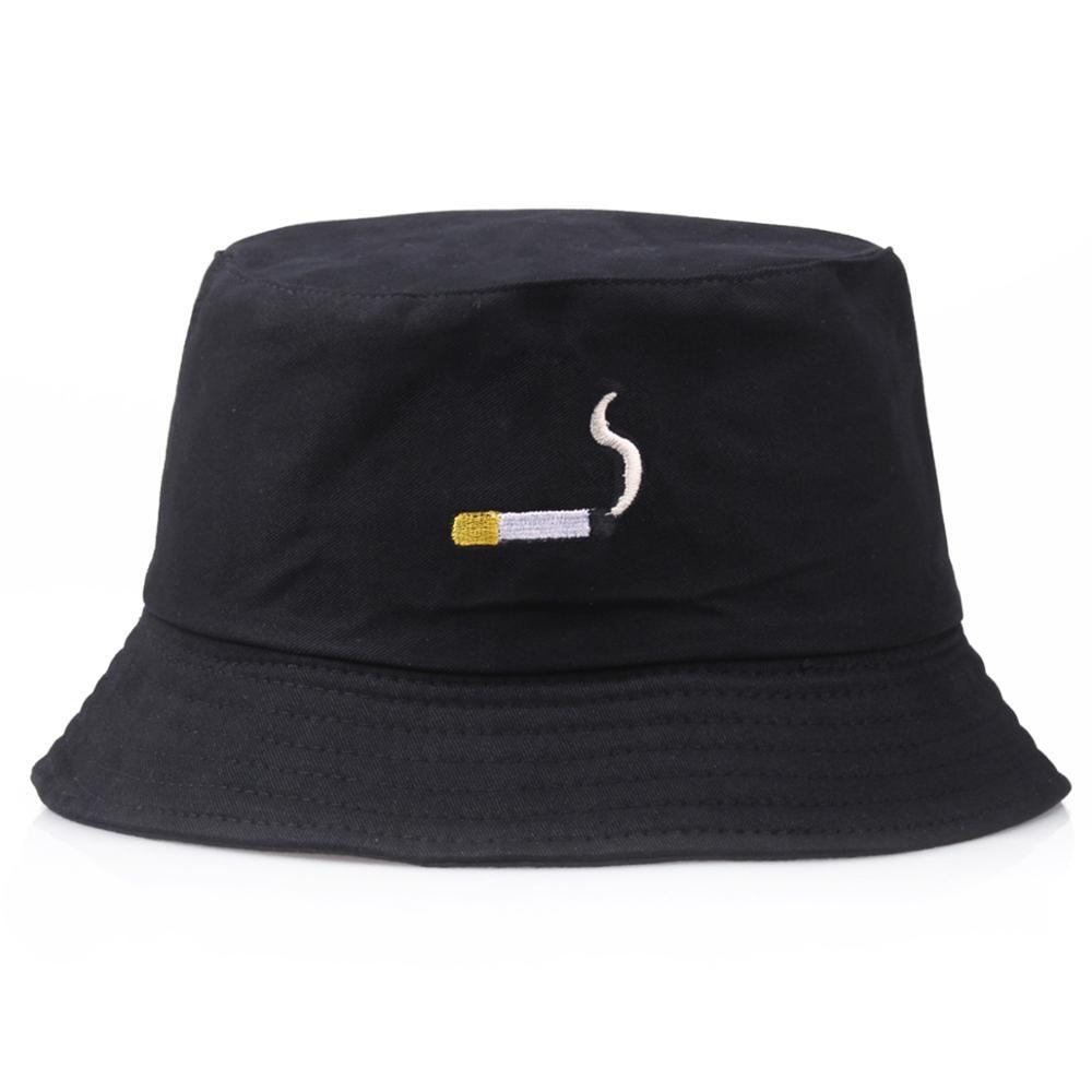 담배 여름 양동이 모자 자수 여자 남자 블랙 파나마 양동이 모자 하라주쿠 낚시 어부 밥 모자 힙합 플랫 캡