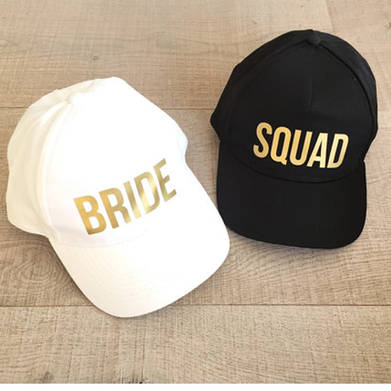 [해외]신부 야구 모자 야구 모자 골든 프린트 새로운 스타일 여성 여성용 결혼식 준비복 흰색 검정 총각 파티 여름 연인 모자/BRIDE SQUAD Baseball Caps Golden Print New Style Hats Women Wedding Preparewear