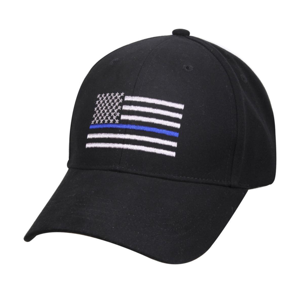 [해외]미국 국기 얇은 파란 선 깃발 경찰 법 집행을낮은 프로필 전술의 모자 뒤로 파란색 수 놓은 모자/American Flag Thin Blue Line Flag Low Profile Tactical Hats For Police Law Enforcement Back