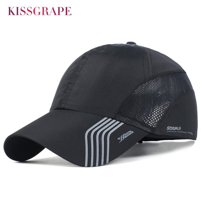 [해외]남자를여름 통기성 스포츠 모자 메쉬 야구 모자 조정 가능한 모자 남자 뼈 스냅 백 모자 빠른 건조 남성 야외 모자 검정/Summer Breathable Sport Hats for Men Mesh Baseball Cap Adjustable Hat Men Bone
