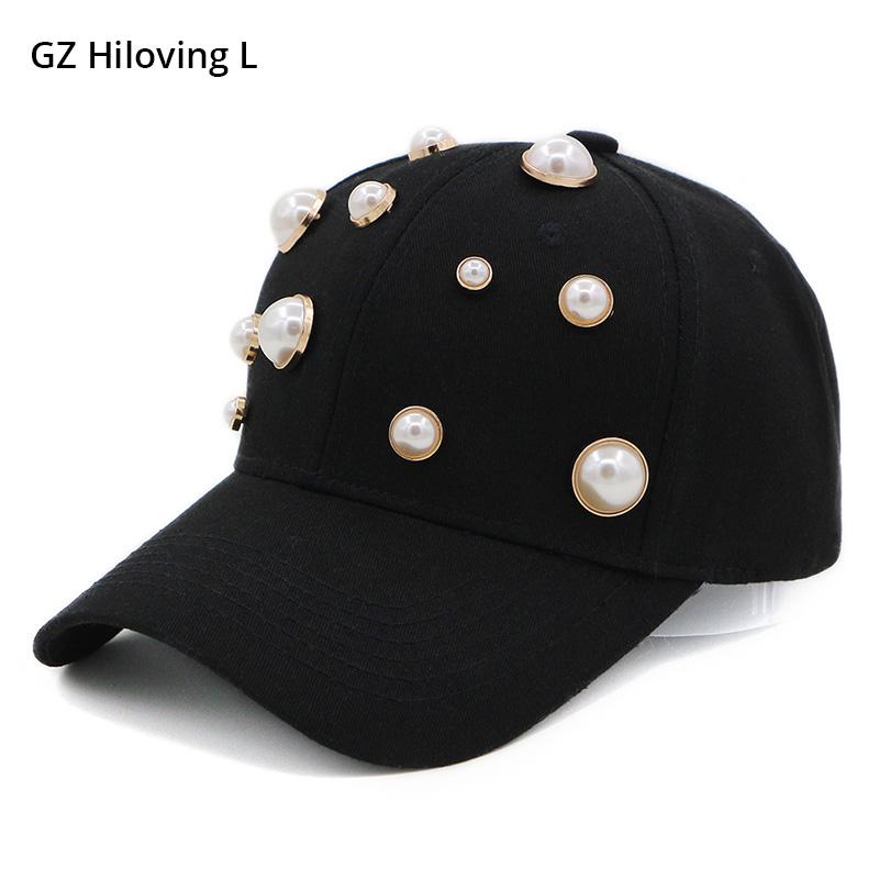 [해외]GZHilovingL 새 여름 여성 블랙 야구 모자 패션 여성 솔리드 스냅 백 CapPearl 코 튼 힙합 모자 2018 아빠 모자/GZHilovingL New Summer Female Black Baseball Cap Fashion Women Solid Sna