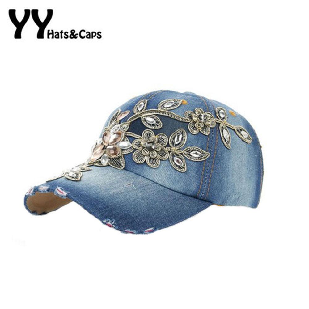 [해외]2016 봄 새로운 반짝이 패션 여성 다이아몬드 꽃 야구 모자 레이디 라인 석 진 모자 여름 스타일 Sunhats YY6020/2016 Spring New Shiny Fashion Women Diamond Flower Baseball Cap Lady Rhines