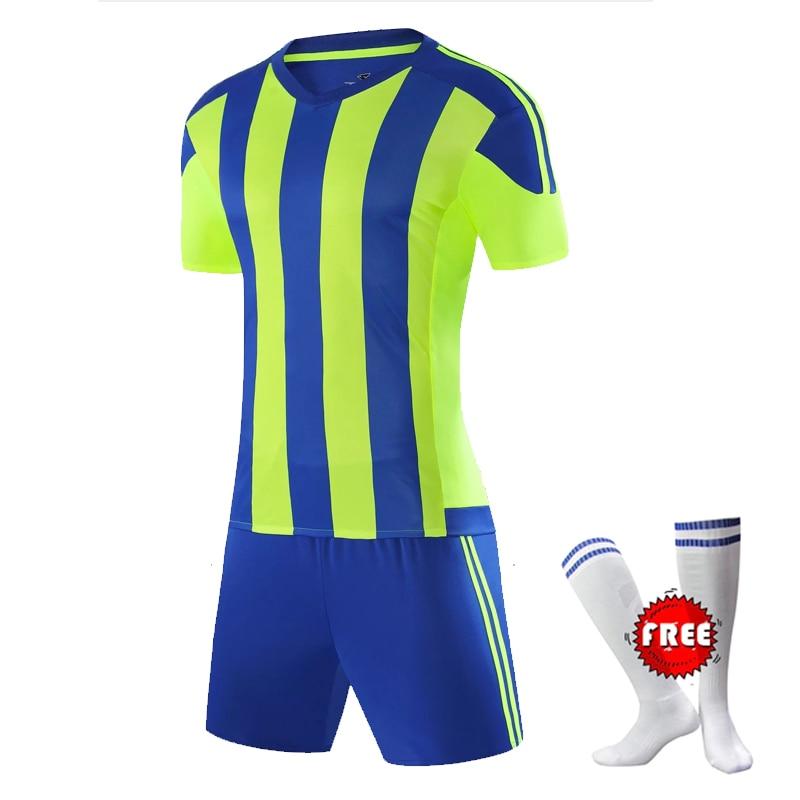 [해외]무료 축구 양말 남자 축구 유니폼 세트 청소년 Maillot 드 발 Survetement 축구 훈련 Voetbal Tenue Kids Voetbalshirts/Free Football Socks Men Soccer Jerseys Set Youth Maillot