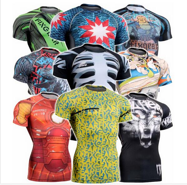 [해외]2016 두개골 인쇄 축구 유니폼 셔츠는 압축 운동이 기능 체육관 크로스 맞는 t 셔츠 CFS를 착용 탑/2016 skull printed soccer jerseys shirts tops compression workout wear functional gym c