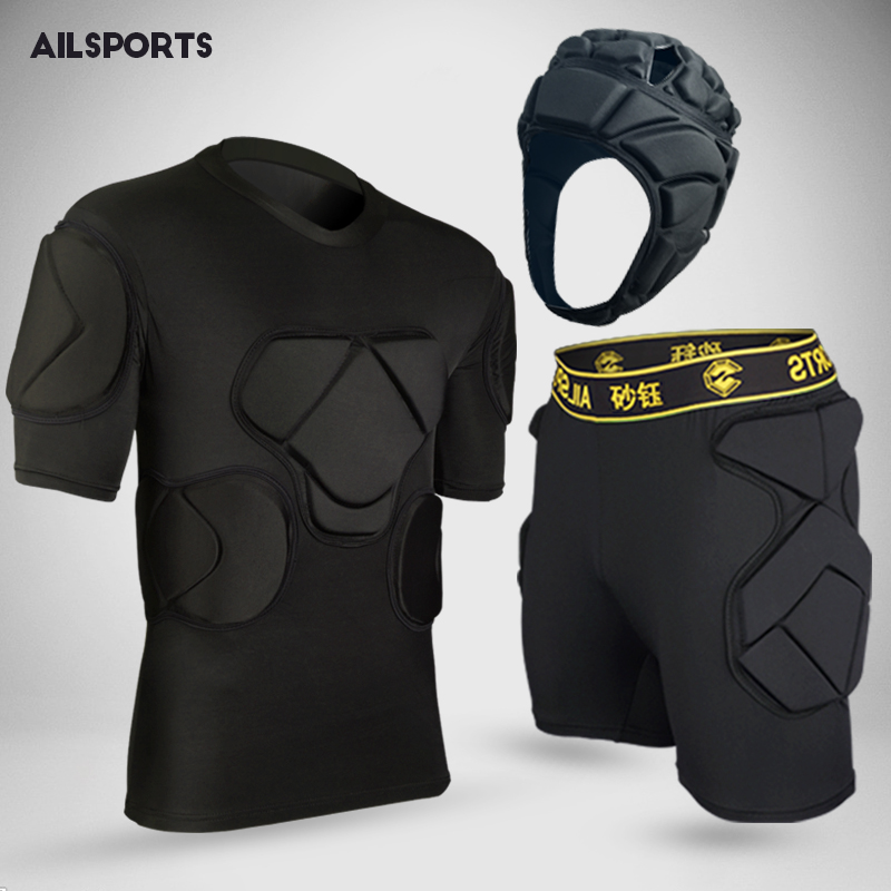 [해외]2017 새로운 미국 축구 스포츠 안전 두껍게 기어 축구 골키퍼 유니폼 바지 무릎 패드 팔꿈치 헬멧 kneepads 보호대/2017 new american football sports safety thicken gear soccer goalkeeper jerse