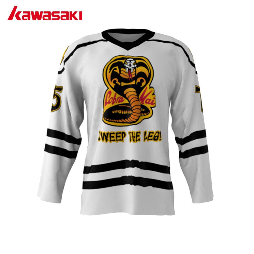 [해외]가와사키 커스텀 코브라 카이 75 미국 아메리칸 V 넥 리그 아이스 하키 유니폼 훈련 용 하키 유니폼 3 색 맞추기 사이즈/Kawasaki Custom Cobra Kai 75 USA American V Neck League Ice Hockey Jerseys St