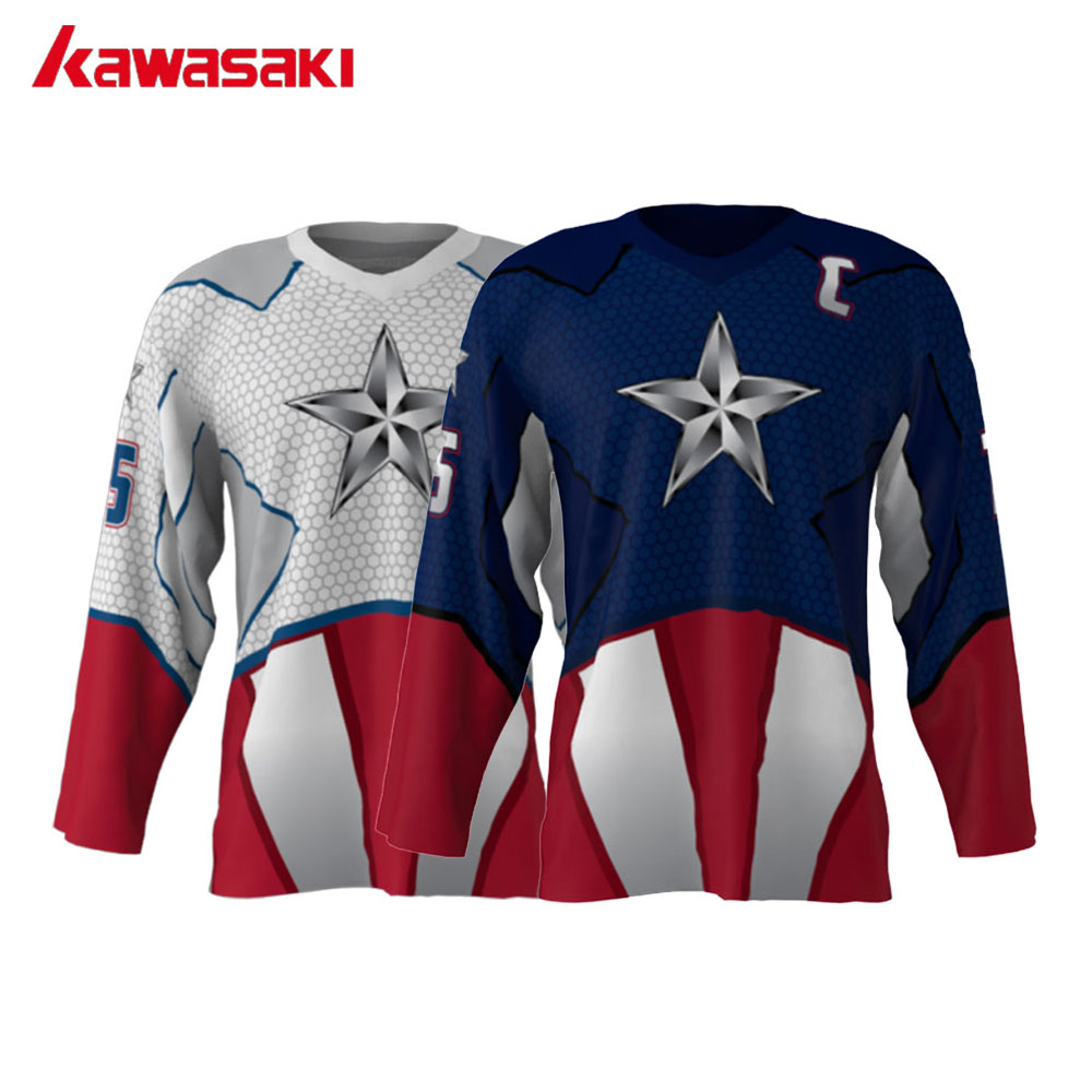 [해외]Kawasaki Brand UniIce 하키 저지 탑 미국 캡틴 2 색 선택 75 수 Custom Mens Training 하키 셔츠 유니폼/Kawasaki Brand UniIce Hockey Jersey Top American Captain 2 Color Ch