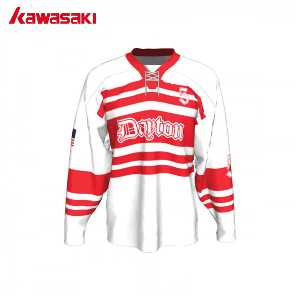 [해외]가와사키 브랜드 승화 맞춤 아이스 하키 저지 남자 유스 로프 레드 / 화이트 하키 셔츠 유니폼 경기/Kawasaki Brand Sublimation Custom Ice Hockey Jersey Men YouthRope Red/White Training Hocke