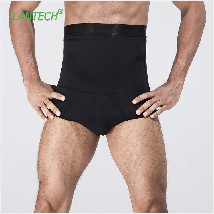 [해외]LANTECH 남성용 하이 웨이스트 더블 레이어 보디 빌딩 위 면도기 반바지 압축 스타킹 복서 운동 피트니스 헬스 반바지/LANTECH Men High Waist Double Layer Bodybuilding Stomach Shapers Shorts Compre