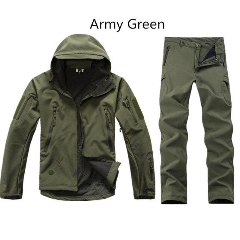 [해외]상어 가죽 야외 사냥 세트 남자 스포츠 Softshell 전술 위장 사냥 의류 야외 복 자켓 바지 사냥 세트/Shark Skin Outdoor Hunting Sets Men Sport Softshell Tactical Camouflage Hunting Cloth