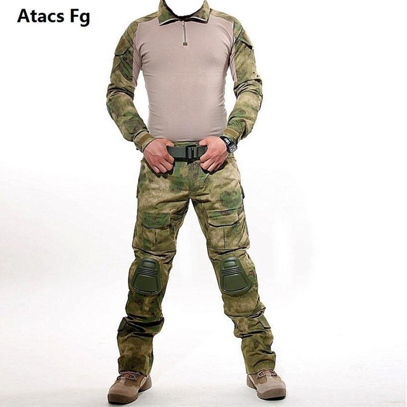 [해외]전술 위장 사냥 세트 남자 육군 스포츠 Multicam 사냥 의류 세트 야외 셔츠 카고 바지 무릎 패드 사냥/Tactical Camouflage Hunting Sets Men Army Sport Multicam Hunting Clothes Set Outdoor