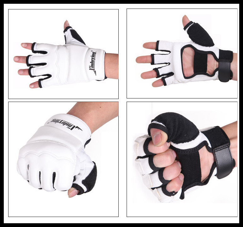 [해외]권투 MMA 무에타이 킥복싱 흰색 절반 손가락 싸움 권투 장갑 장갑 산다 공수 샌드백 태권도 ??보호대/White Half Finger Fight Boxing Gloves Mitts Sanda Karate Sandbag Taekwondo Protector For