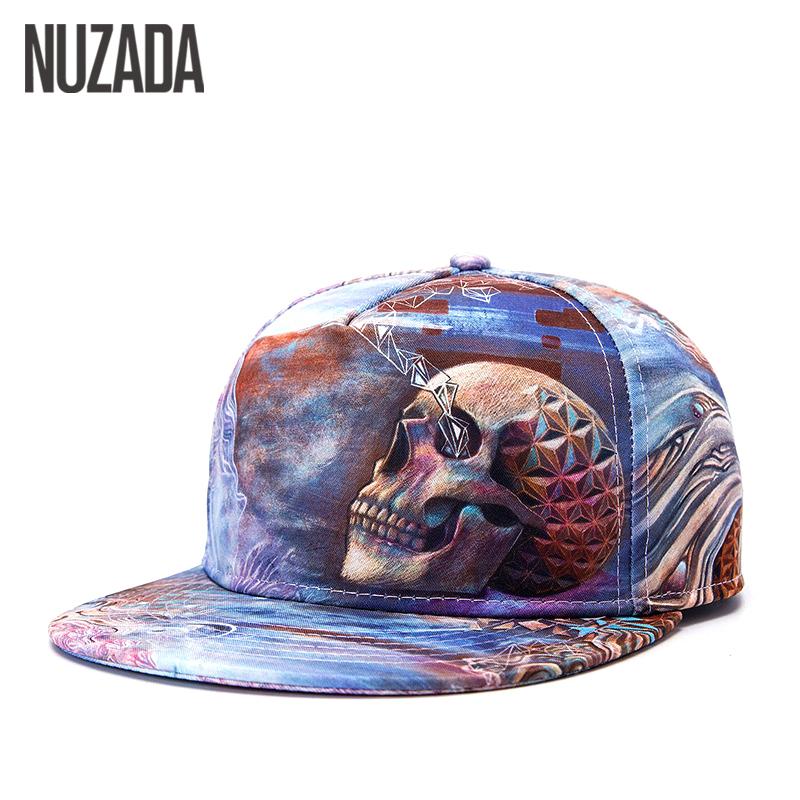 [해외]브랜드 NUZADA 인쇄 해골 펑크 스트리트 품질 코튼 남성 여성 모자 모자 야구 모자 힙합 스냅 백 모자 jt-024/Brands NUZADA Printing Skull Punk Street Quality Cotton Men Women Hat Hats Base