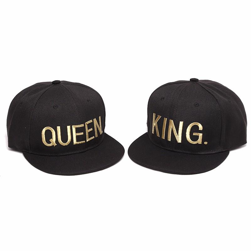 [해외]2016 뉴 킹 퀸 애호가  스냅 백 모자 남성 여성 코튼 5 판넬 조정 가능한 고라 핑크 네이비 블루 2pc 1lot/2016 New King Queen Lovers Embroidery Snapback Hats Men Women Cotton 5 Panles A