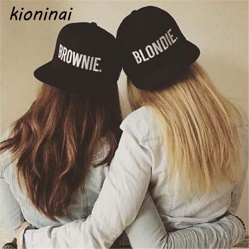 [해외]Kioninai 2017 BLONDIE BROWNIE (한 쌍) Snapback 모자 여자 남자 여자 친구 선물면 목 야구 모자 힙합 모자 뼈/Kioninai 2017 BLONDIE BROWNIE  (A Pair) Snapback Hats Women Men Gi