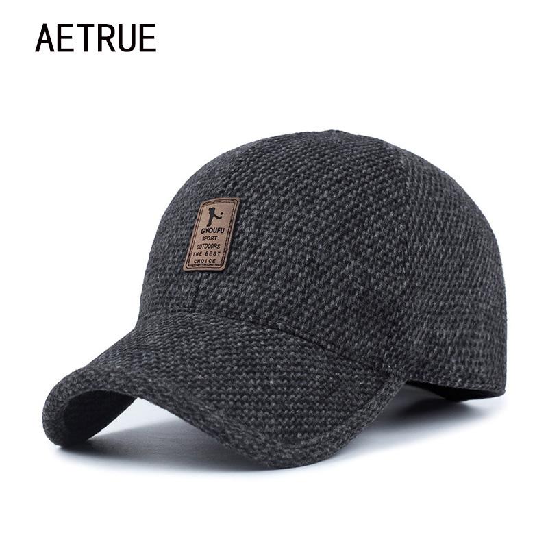 [해외]AETRUE 남자 Snapback 야구 모자 상표 뼈 homme 귀고리 남자를아빠 모자 Gorras Casquette Chapeau Thicken 따뜻한 겨울 모자/AETRUE Men Snapback Baseball Cap Brand Bone homme Earf