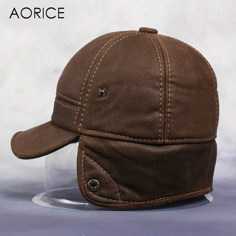 [해외]Aorice New Men & s Scrub  가죽 야구 모자 HL083 안에 러시아 겨울 따뜻한 야구 모자 가짜 모피/Aorice New Men&s Scrub Genuine Leather Baseball Cap Russian Winter Warm Bas