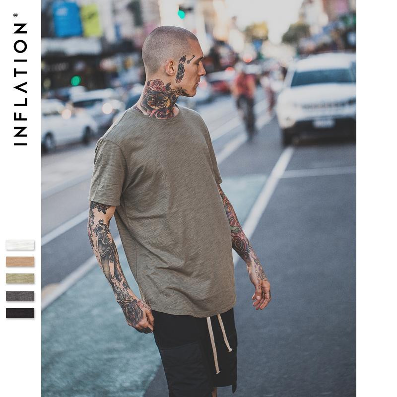 [해외]인플레이션 2017 여름 새 스타일 남성 & s 단색 연장 연장 일반 T 셔츠 대나무면/INFLATION 2017 Summer New Style Men&s Solid Extended Elongated Plain T Shirt Bamboo Cotton