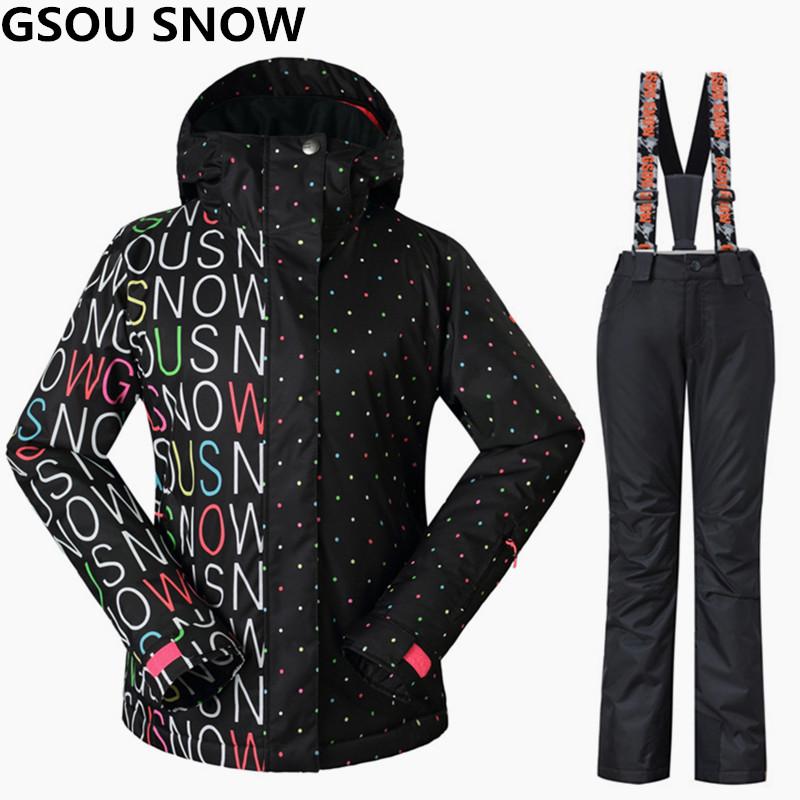[해외]Gsou 스노우 여성 스키 복 겨울 스노우 보드 재킷 및 바지 방풍 방수 다채로운 여성 야외 스포츠 스키 세트/Gsou Snow Women Ski Suits Winter Snowboarding Jackets and Pants Windproof Waterproof