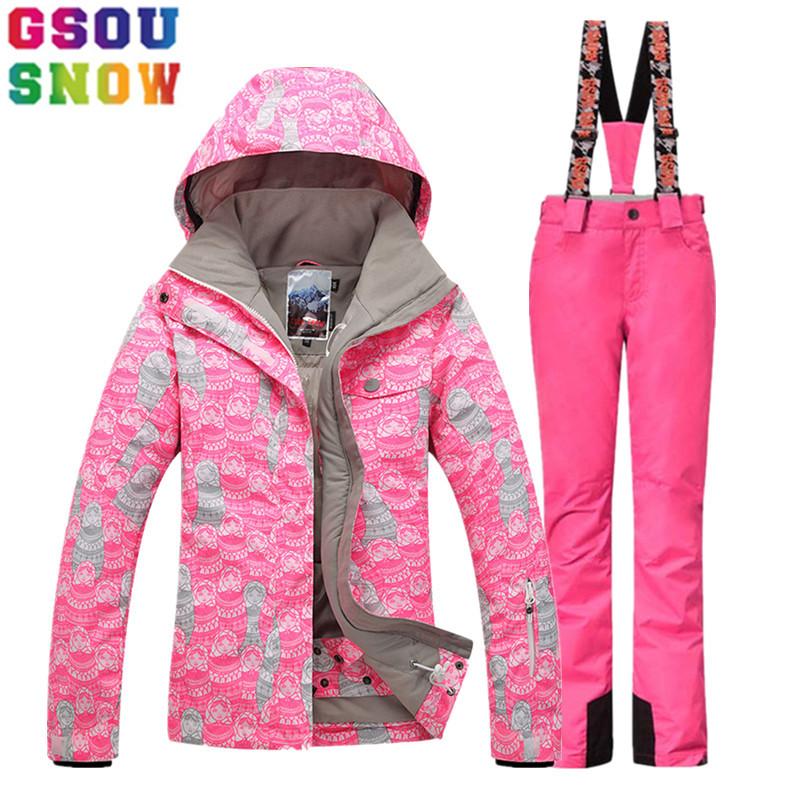 [해외]GSOU SNOW 브랜드 겨울 스키 복 여성 스키 자켓 바지 야외 마운틴 스키 정장 여성 스노우 보드 자켓 바지 스포츠 의류/GSOU SNOW Brand Winter Ski Suit Women Ski Jacket Pants Outdoor Mountain Skii