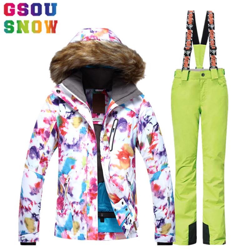 [해외]GSOU SNOW 스키 복 여성 스키 자켓 바지 방수 통풍 스노우 보드 재킷 바지 겨울 야외 스키 의류 2017/GSOU SNOW Ski Suit Women Ski Jacket Pants Waterproof Breathable Snowboard Jacket Pa