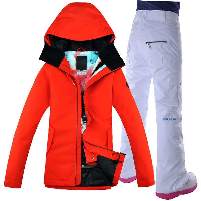 [해외]Gsou 스노우 여성 스키 정장 스노우 보드 자켓 바지 열 정장 방수 Windproof 야외 스포츠웨어 슈퍼 따뜻한 여성 의류/Gsou Snow Women Ski Suit Snowboard Jacket Pant Thermal Suit Waterproof Wind