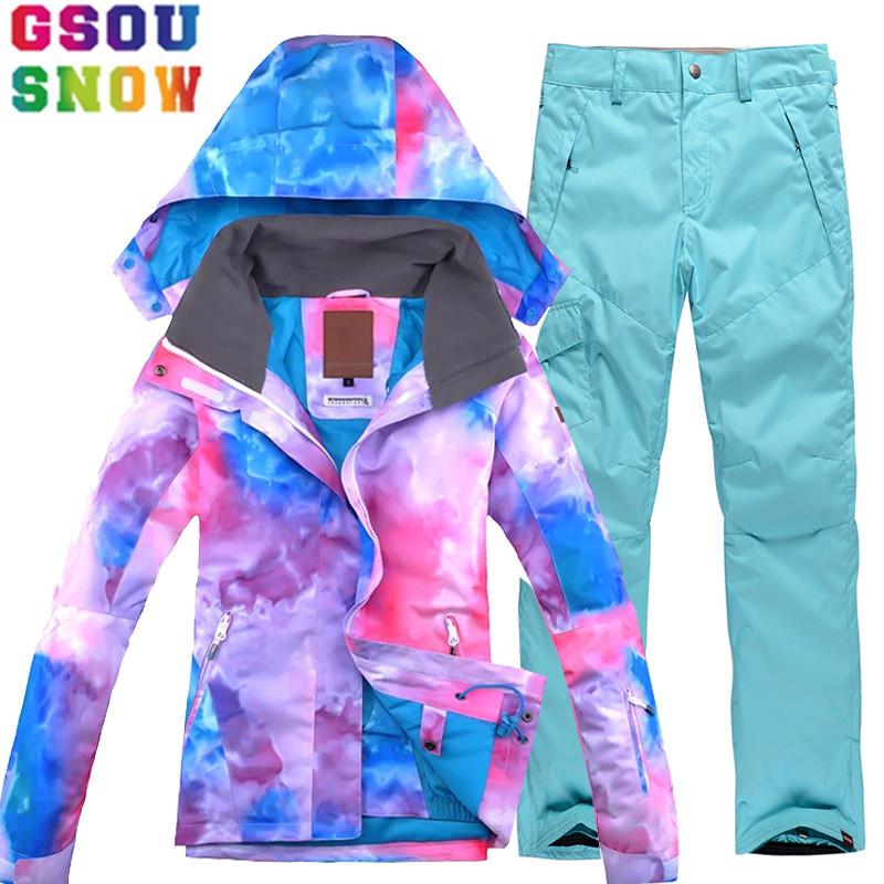 [해외]GSOU SNOW 브랜드 스키 복 여성 스키 자켓 스노우 보드 바지 겨울 방수 마운틴 스키 정장 싸구려 야외 스포츠 의류/GSOU SNOW Brand Ski Suit Women Ski Jacket Snowboard Pants Winter Waterproof Mo